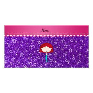 Brillo púrpura personalizado de las estrellas de tarjetas fotográficas