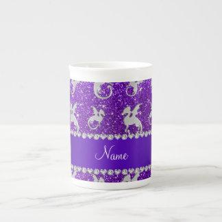 Brillo púrpura personalizado de los dragones de taza de porcelana
