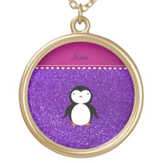 Brillo púrpura personalizado del añil del pingüino collares personalizados