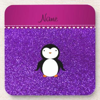 Brillo púrpura personalizado del añil del pingüino posavasos de bebida