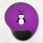 Brillo púrpura personalizado del pingüino conocido alfombrillas de ratón con gel