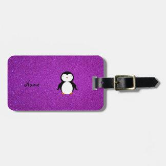 Brillo púrpura personalizado del pingüino conocido etiquetas para equipaje