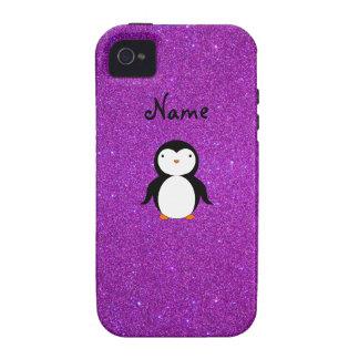 Brillo púrpura personalizado del pingüino conocido iPhone 4/4S carcasa