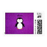 Brillo púrpura personalizado del pingüino conocido envio