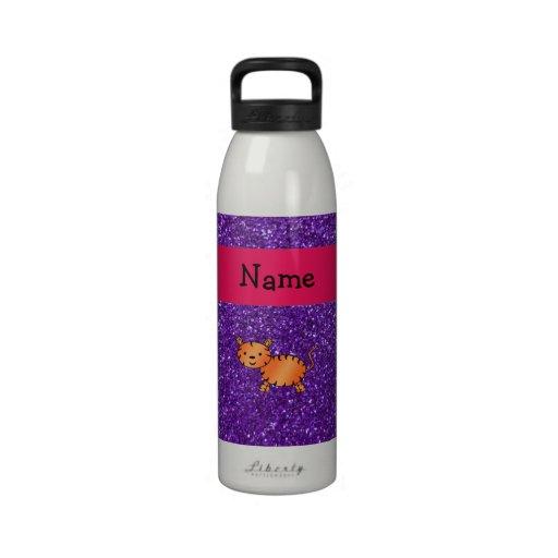 Brillo púrpura personalizado del tigre conocido botella de beber
