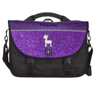 Brillo púrpura personalizado del unicornio conocid bolsas de portátil