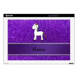 Brillo púrpura personalizado del unicornio conocid calcomanía para portátil