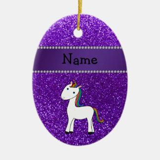 Brillo púrpura personalizado del unicornio conocid ornamento para reyes magos