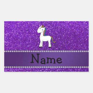 Brillo púrpura personalizado del unicornio conocid rectangular pegatina
