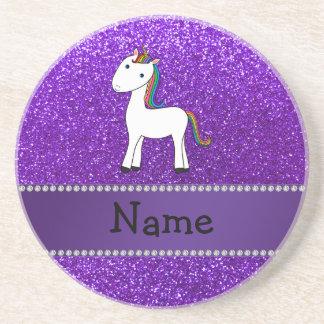 Brillo púrpura personalizado del unicornio conocid posavasos para bebidas