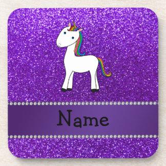 Brillo púrpura personalizado del unicornio conocid posavasos de bebidas