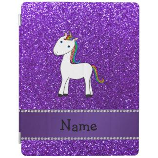 Brillo púrpura personalizado del unicornio cubierta de iPad