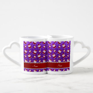 Brillo púrpura personalizado santas del añil taza amorosa