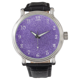 Brillo púrpura relojes de pulsera