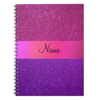 Brillo púrpura rosado conocido personalizado note book