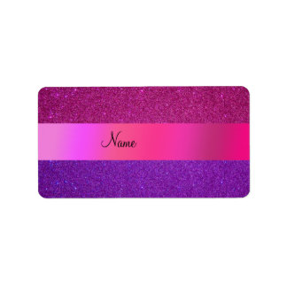 Brillo púrpura rosado conocido personalizado etiqueta de dirección