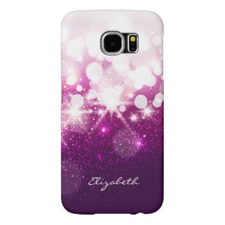 Brillo púrpura rosado femenino y chispas fundas samsung galaxy s6