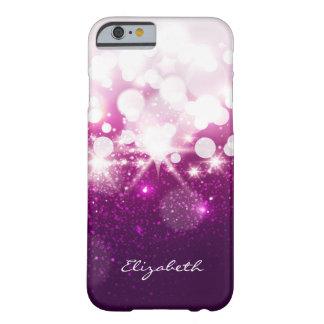 Brillo púrpura rosado femenino y chispas funda de iPhone 6 barely there