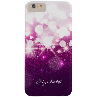 Brillo púrpura rosado femenino y chispas funda para iPhone 6 plus barely there
