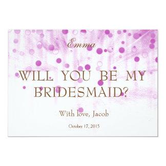 """Brillo púrpura usted será mi dama de honor invitación 5"""" x 7"""""""