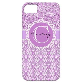 Brillo púrpura y damasco w/Name y cubierta inicial iPhone 5 Case-Mate Coberturas
