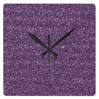 Brillo púrpura y de plata brillante reloj cuadrado