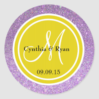Brillo púrpura y monograma amarillo citrino del pegatinas redondas