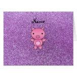 Brillo purpúreo claro del cerdo conocido de encarg tarjeta