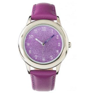 Brillo purpúreo claro relojes de pulsera