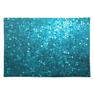 Brillo retro y chispas de los tonos azules mantel individual