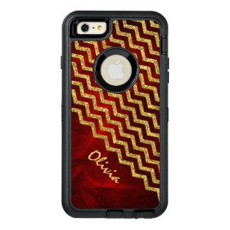 Brillo rojo Chevron del oro falso Funda OtterBox Defender Para iPhone 6 Plus