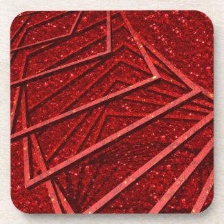 Brillo rojo con los elementos posavasos