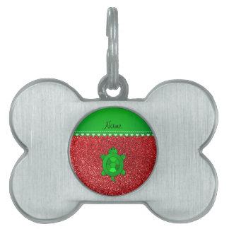 Brillo rojo conocido personalizado de la tortuga placa de mascota