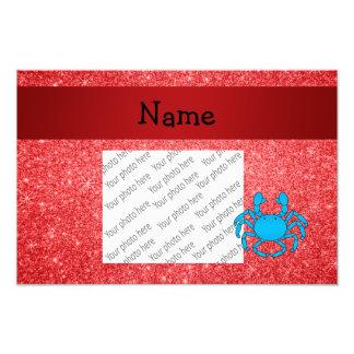 Brillo rojo conocido personalizado del cangrejo az impresión fotográfica
