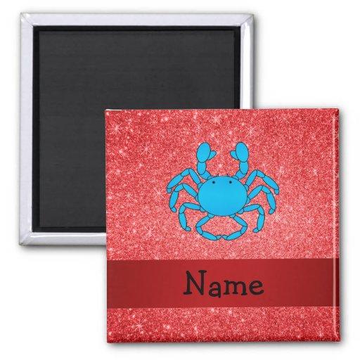Brillo rojo conocido personalizado del cangrejo az imán