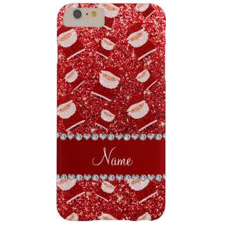 Brillo rojo conocido personalizado santas funda para iPhone 6 plus barely there