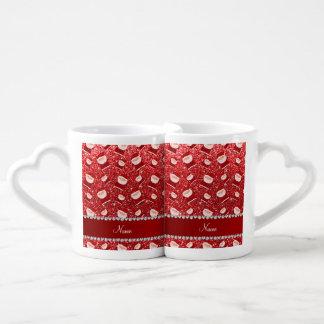 Brillo rojo conocido personalizado santas taza para parejas