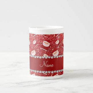 Brillo rojo conocido personalizado santas taza de porcelana