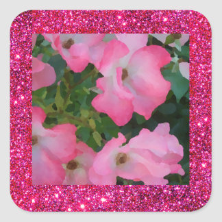 Brillo rojo de la chispa de las flores del rosa de pegatina cuadrada