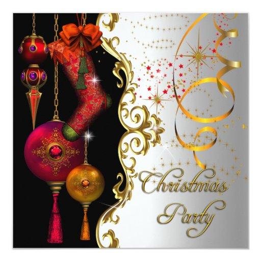 """Brillo rojo de Navidad del oro de la fiesta de Invitación 5.25"""" X 5.25"""""""