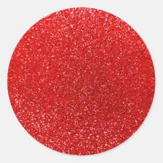 Brillo rojo de neón pegatina redonda