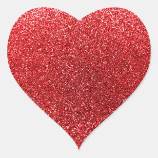 Brillo rojo calcomanía de corazón personalizadas