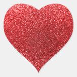 Brillo rojo pegatina en forma de corazón