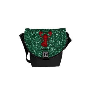 Brillo rojo personalizado de la verde menta de la  bolsa de mensajeria