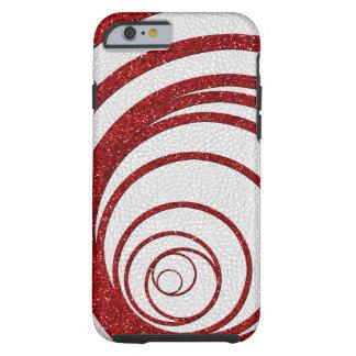Brillo rojo Swirly Funda De iPhone 6 Tough