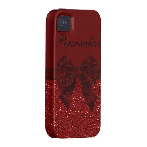 Brillo rojo y caja personalizada arco del iPhone Vibe iPhone 4 Fundas