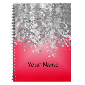 Brillo rojo y falso spiral notebooks