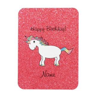 Brillo rosa claro del unicornio conocido del cumpl imán rectangular
