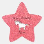 Brillo rosa claro del unicornio conocido del cumpl etiquetas