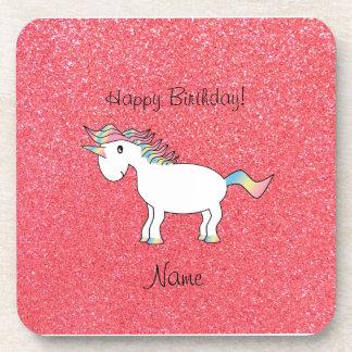 Brillo rosa claro del unicornio conocido del cumpl posavasos de bebida